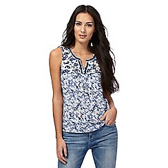 Mantaray - Navy floral print vest top