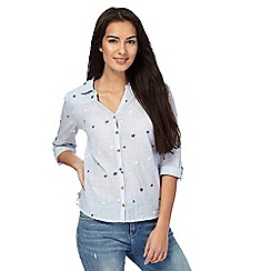 Mantaray - Light blue textured embroidered flower shirt