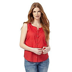 Mantaray - Red broidery yoke notch neck top