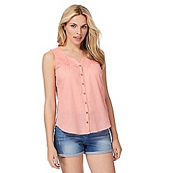 Mantaray - Light coral notch neck top