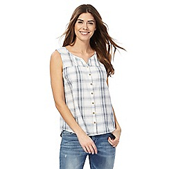Mantaray - White checked button down top
