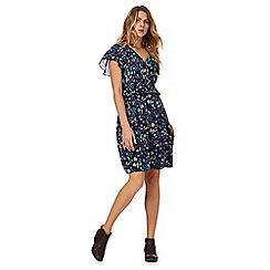 Mantaray - Blue floral print v-neck knee length tea dress
