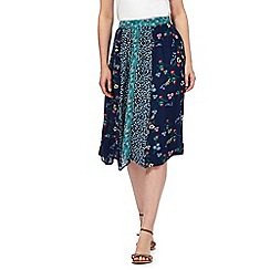 Mantaray - Navy floral print midi skirt