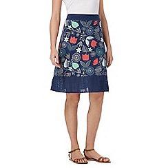 Mantaray - Navy floral print jersey skirt
