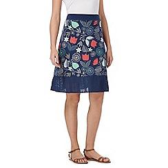 Mantaray - Navy floral print jersey skirt