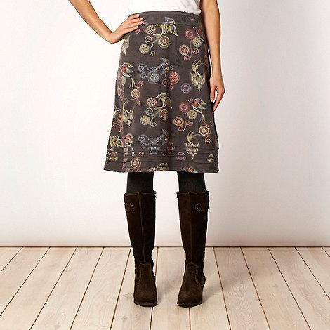 Mantaray - Dark grey bird patterned jersey skirt