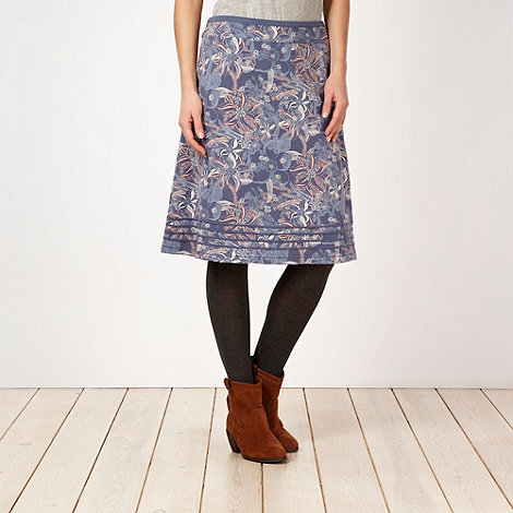 Mantaray - Dark blue floral jersey flared skirt