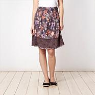 Dark grey floral broderie hem skirt