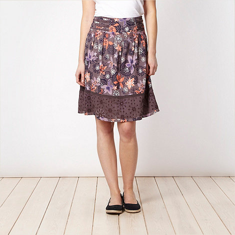 Mantaray - Dark grey floral broderie hem skirt
