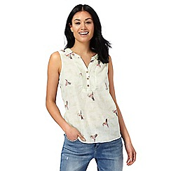 Mantaray - Light green hummingbird print sleeveless top