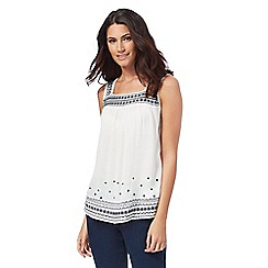 Mantaray - Off white embroidered sleeveless top