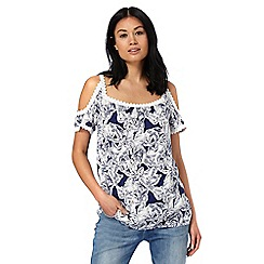 Mantaray - Navy palm print cold shoulder top