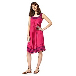 Mantaray - Bright pink embroidered trim dress