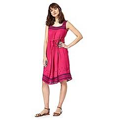 Mantaray - Bright pink embroidered trim dress