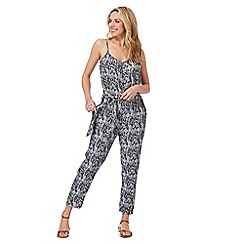Mantaray - Navy and white arrow print jumpsuit