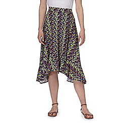 Mantaray - Multi-coloured chevron print hanky hem skirt