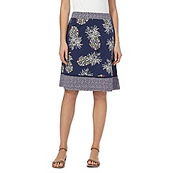 Mantaray - Navy pineapple print jersey skirt