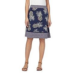 Mantaray - Navy pineapple print jersey skirt