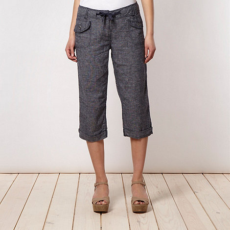 Mantaray - Navy crosshatched linen blend cropped trousers