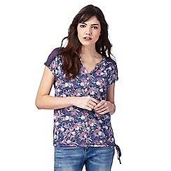 Mantaray - Navy floral print top