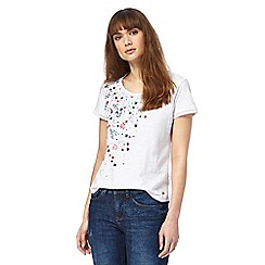 Mantaray - White floral embroidered top