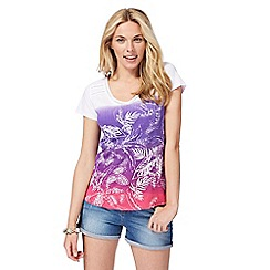 Mantaray - White and purple palm print t-shirt