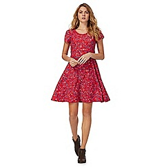 Mantaray - Red short sleeve floral print skater dress