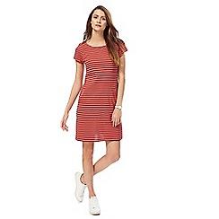 Mantaray - Peach stripe cap sleeves tunic dress