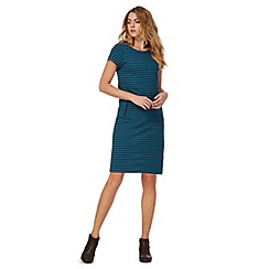 Mantaray - Dark green stripe short sleeve plus size tunic dress
