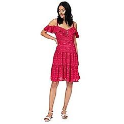 Mantaray - Bright pink cold shoulder dress