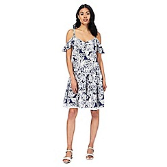 Mantaray - Navy floral print cold shoulder dress