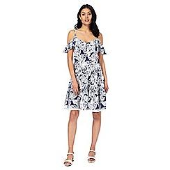 Mantaray - Navy floral print cold shoulder dress