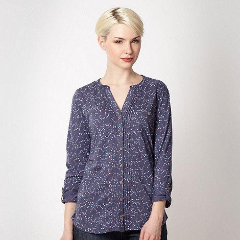 Mantaray - Dark blue bauble patterned jersey shirt