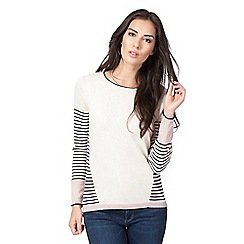 Mantaray - Navy striped button back jumper