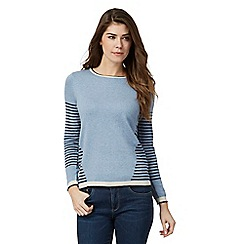 Mantaray - Blue striped button back jumper