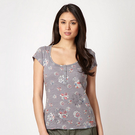 Mantaray - Grey floral textured jersey top