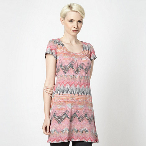 Mantaray - Peach aztec tunic top