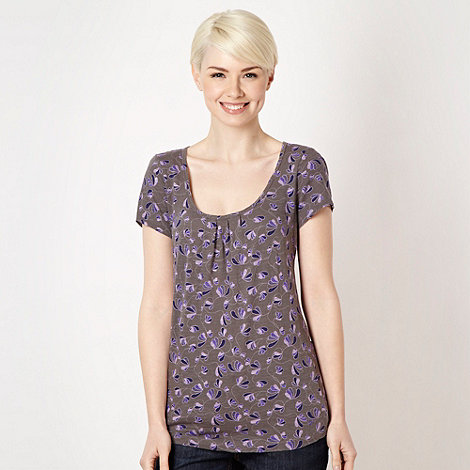 Mantaray - Grey and purple print t-shirt