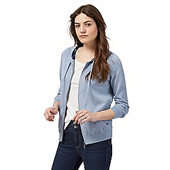 Mantaray - Blue hooded zip through cardigan