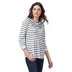 Mantaray - White and blue striped embroidered neck jumper