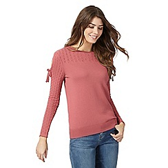 Mantaray - Pink pointelle cold shoulder jumper