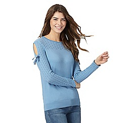 Mantaray - Blue pointelle cold shoulder jumper
