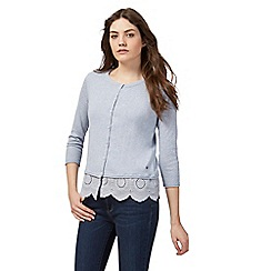 Mantaray - Blue cut-out hem cardigan