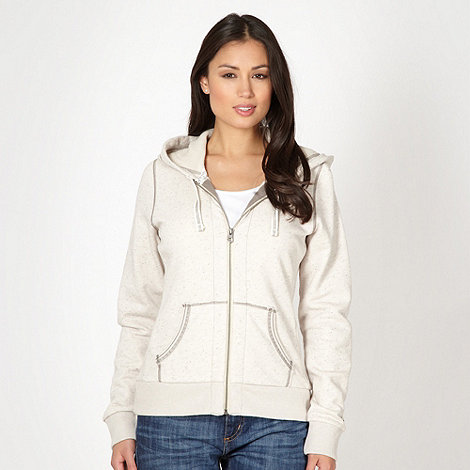 Mantaray - Cream flecked zip through sweat hoodie