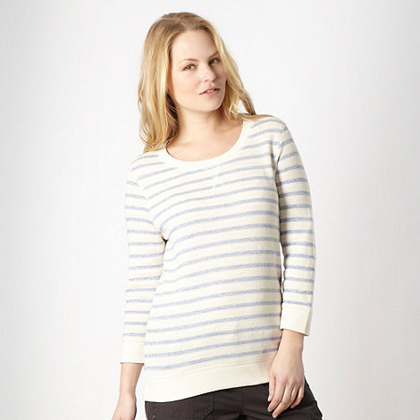 Mantaray - Cream striped crew neck sweat top