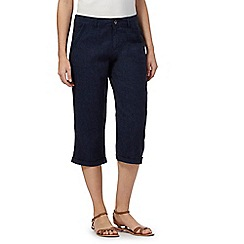 Mantaray - Navy linen blend cropped chinos