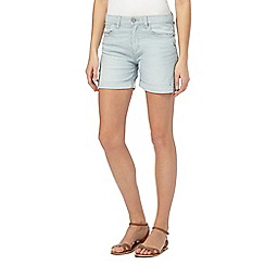 Mantaray - Mid blue striped denim shorts