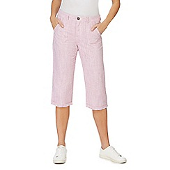 Mantaray - Pink cropped linen blend trousers