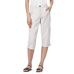 Mantaray - Natural cropped linen blend trousers