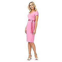 Racing Green - Pink lace V neck knee length dress